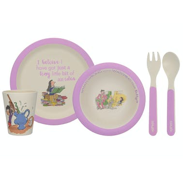 Roald Dahl Matilda 4 Piece Pressed Bamboo Dinner Set