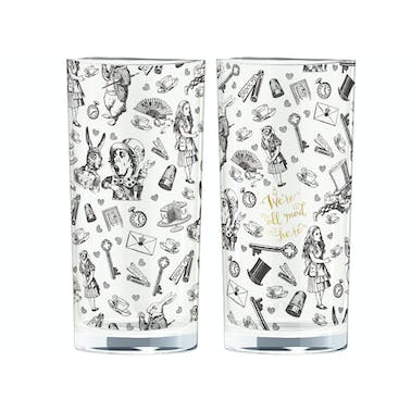Victoria And Albert Alice In Wonderland Set Of 2 High Ball Glasses