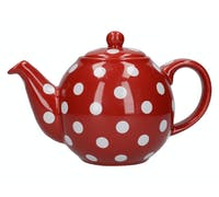 London Pottery Globe 2 Cup Teapot Red With White Spots