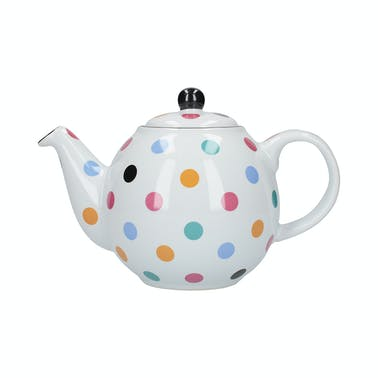London Pottery Globe® 6 Cup Teapot White With Multi Spots