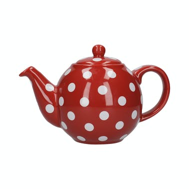 London Pottery Globe 6 Cup Teapot Red With White Spots