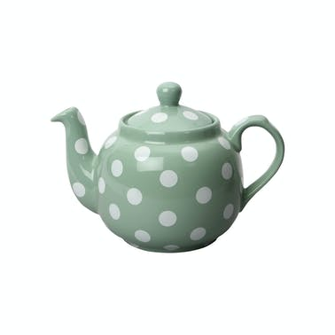 London Pottery Farmhouse® 4 Cup Teapot Green With White Spots