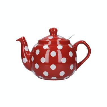 London Pottery Farmhouse 4 Cup Teapot Red With White Spots