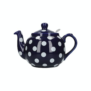 London Pottery Farmhouse 4 Cup Teapot Blue With White Spots