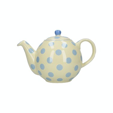 London Pottery Globe® 4 Cup Teapot Ivory With Blue Spots