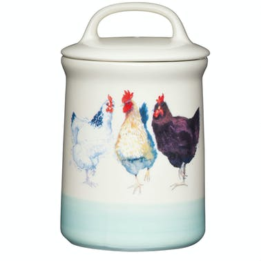 Apple Farm Hen Tea Canister Stoneware