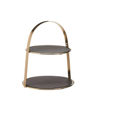 Artesà 2-Tier Brass Coloured Cake Stand with Round Slate Serving Platters