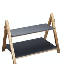 Photo of Artesà 2 Tier Slate & Wood Serving Stand
