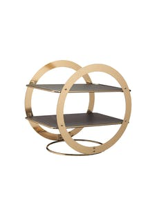 Photo of Artesà 2-Tier Geometric Brass Coloured Serving Stand with Slate Serving Platters