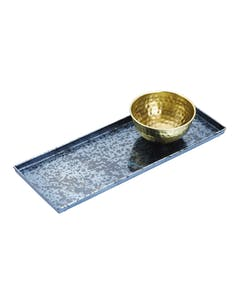 Photo of Artesà Blue Galvanised Serving Platter with Brass Serving Bowl