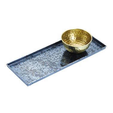 Artesà Blue Galvanised Serving Platter with Brass Serving Bowl