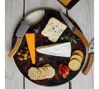 Artesà Round Serving Board with Tortoise Shell Resin Finish