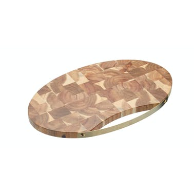 Artesà Large Oval Acacia Wood Serving Board with Brass Handle