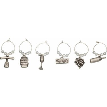 BarCraft Set of 6 Decorative Wine Charms