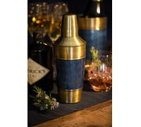 BarCraft Stainless Steel Blue and Brass Finish Cocktail Shaker