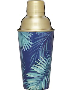 Photo of BarCraft Brass Finish Stainless Steel Tropical Leaves Cocktail Shaker