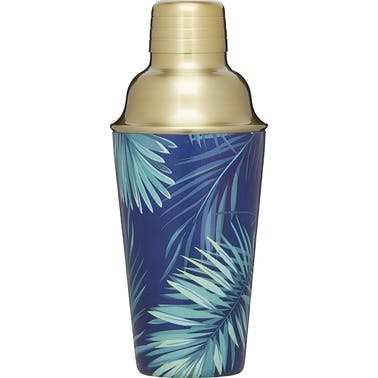BarCraft Brass Finish Stainless Steel Tropical Leaves Cocktail Shaker