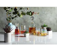 BarCraft Iridescent Glass Whisky Decanter Set with 2 Tumbler Glasses
