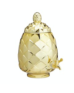 Photo of BarCraft Metallic Gold Pineapple Shaped Glass Drinks Dispenser