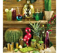 BarCraft Metallic Gold Pineapple Shaped Glass Drinks Dispenser