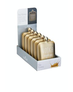 Photo of BarCraft Display of Six Gold Stainless Steel 'Vodka made me do it' Hip Flasks
