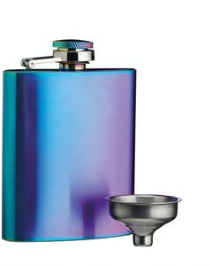 Photo of BarCraft Exotic Rainbow Hip Flask with Easy Pour Funnel