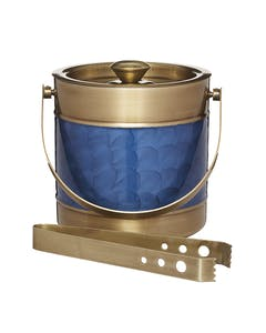 Photo of BarCraft Stainless Steel Blue and Brass Finish Ice Bucket