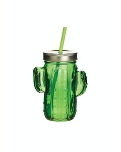 Photo of BarCraft Cactus Drinks Jar with Straw Green Glass