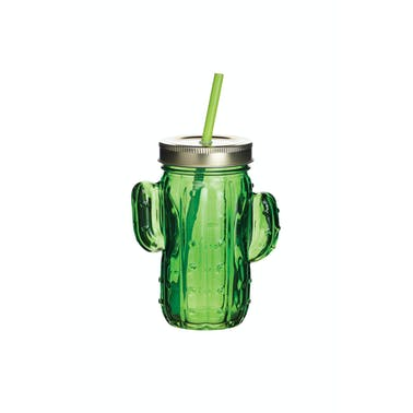 BarCraft Cactus Drinks Jar with Straw Green Glass