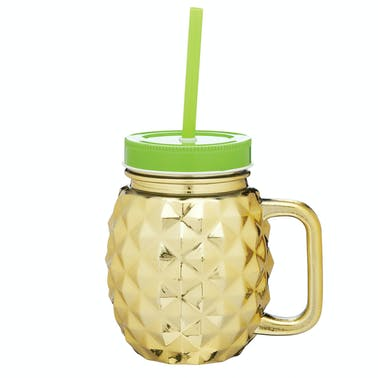 BarCraft Glass 'Pineapple' Drinking Jar Set