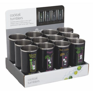 BarCraft Display of Twelve 480ml Stainless Steel Neon Tumblers