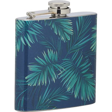 BarCraft Stainless Steel Tropical Leaves 175ml Hip Flask