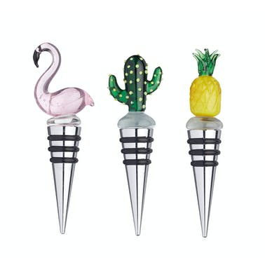 BarCraft Glass Topped Tropical Bottle Stoppers - Display of 24