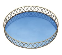 BarCraft Stainless Steel Blue and Brass Finish Serving Tray