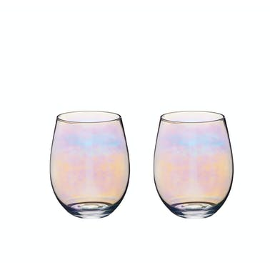 BarCraft Set of Two Iridescent Glass Tumblers