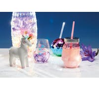 BarCraft Unicorn Pink Glass Drinks Jar with Straw