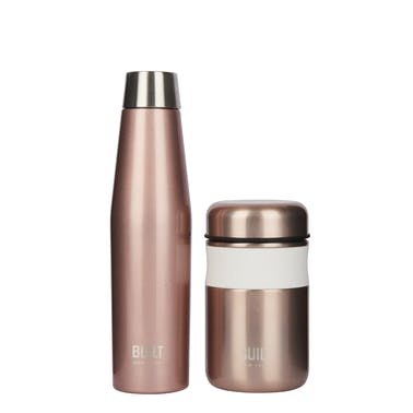 BUILT Apex Insulated Water Bottle and Insulated Food Flask Set, Rose Gold