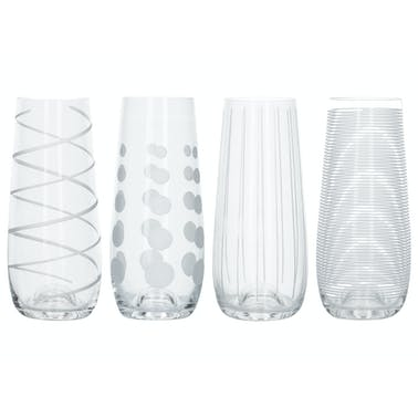 Mikasa Cheers Pack Of 4 Stemless Flute Glasses