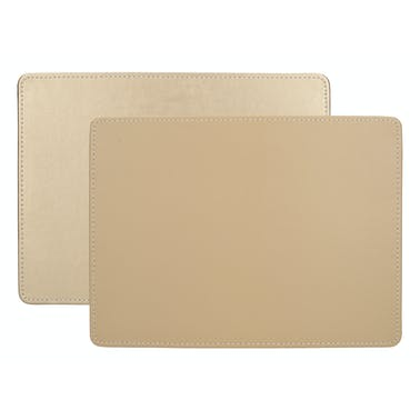 Creative Tops Naturals Premium Pack Of 4 Stitched Edge Faux Leather Placemats Metalic Gold