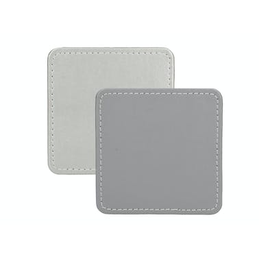 Creative Tops Naturals Premium Pack Of 4 Stitched Edge Faux Leather Coasters Metalic Silver