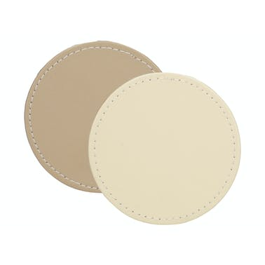 Creative Tops Naturals Premium Pack Of 4 Stitched Edge Faux Leather Coasters Cream Taup