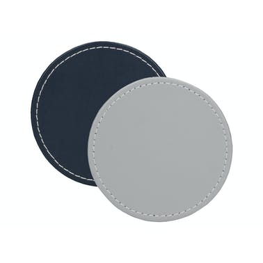 Creative Tops Naturals Premium Pack Of 4 Stitched Edge Faux Leather Coasters Grey