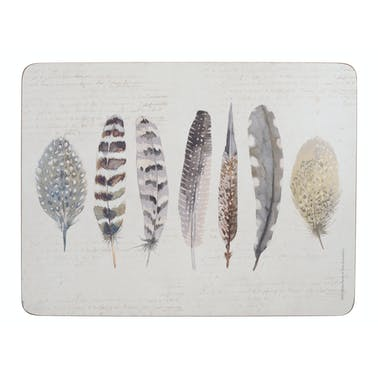Creative Tops Feathers Pack Of 6 Premium Placemats