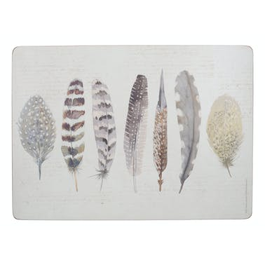 Creative Tops Feathers Pack Of 4 Large Premium Placemats