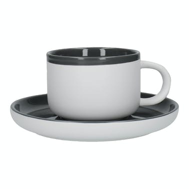 La Cafetiere Barcelona 290ml Tea Cup And Saucer Cool Grey