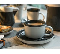 La Cafetiere Barcelona Cool Grey 280ml Tea Cup and Saucer