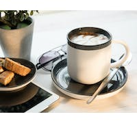 La Cafetiere Barcelona 300ml Coffee Cup And Saucer Cool Grey
