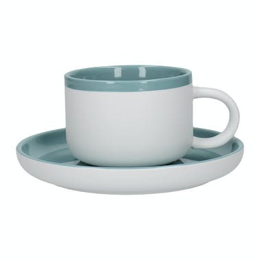 La Cafetiere Barcelona Retro Blue 280ml Tea Cup and Saucer