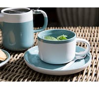 La Cafetiere Barcelona 290ml Tea Cup And Saucer Retro Blue