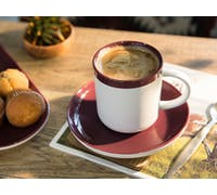 La Cafetiere Barcelona Plum 300ml Coffee Cup and Saucer Plum